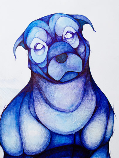 Terrier Portrait in Blue